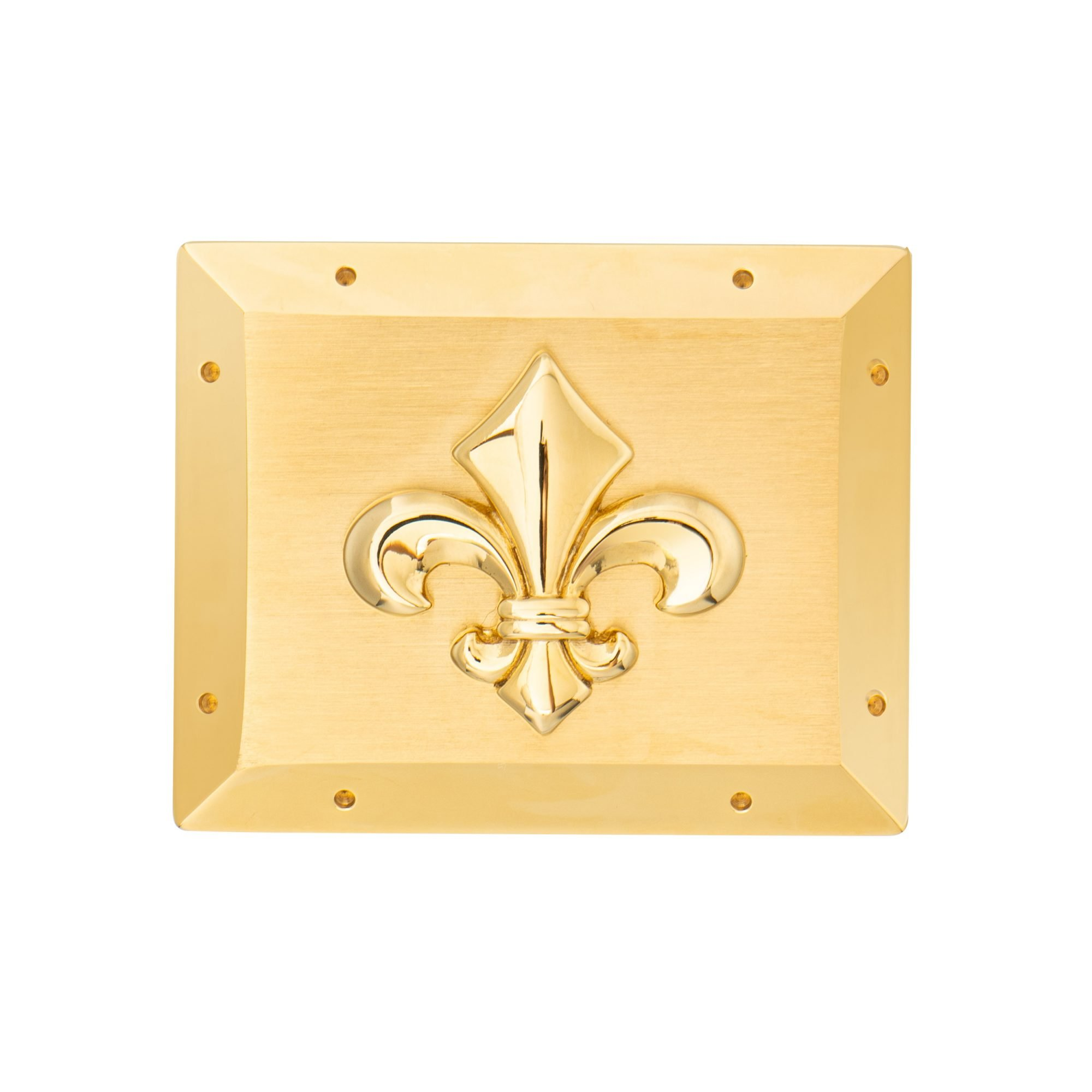 VIKTOR ALEXANDER 38MM STAINLESS STEEL BELT BUCKLE FLEUR DE LIS YELLOW GOLD FRONT PROFILE