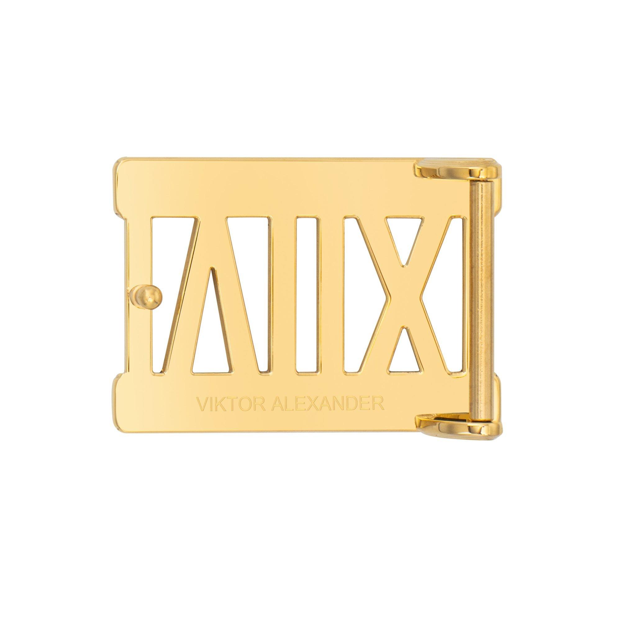 VIKTOR ALEXANDER 38MM STAINLESS STEEL BELT BUCKLE ROMAN NUMERALS YELLOW GOLD BACK PROFILE
