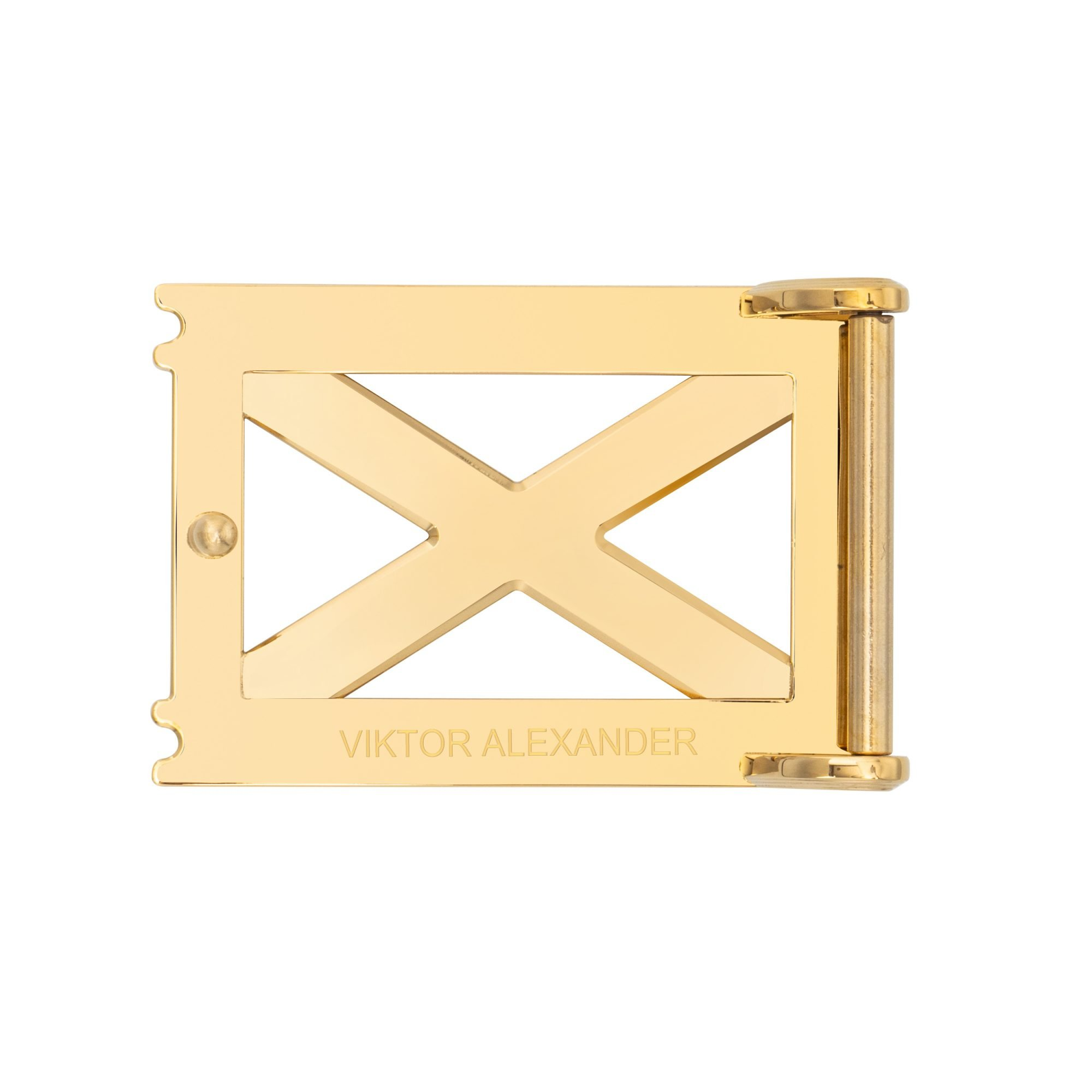 VIKTOR ALEXANDER 38MM STAINLESS STEEL BELT BUCKLE REPERTOIRE X YELLOW GOLD BACK PROFILE