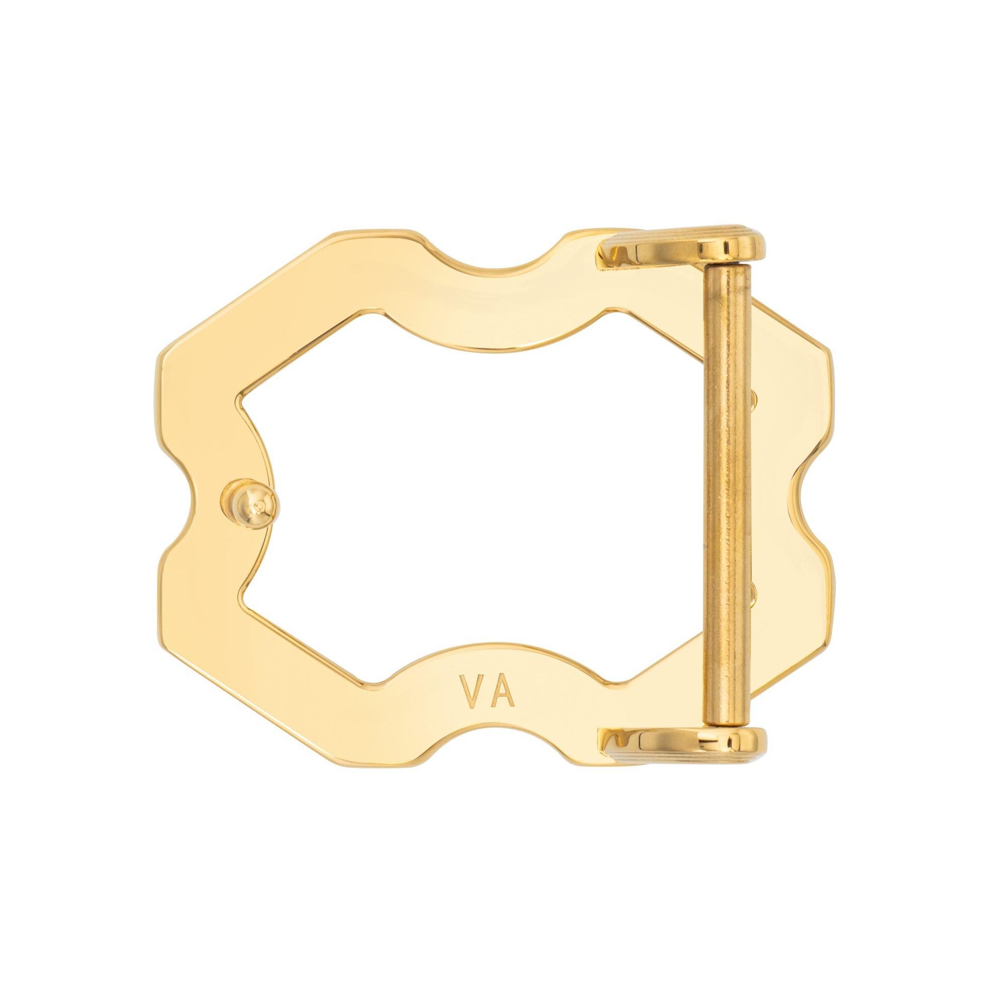 VIKTOR ALEXANDER 38MM STAINLESS STEEL BELT BUCKLE X FRAME INDENTED YELLOW GOLD BACK PROFILE