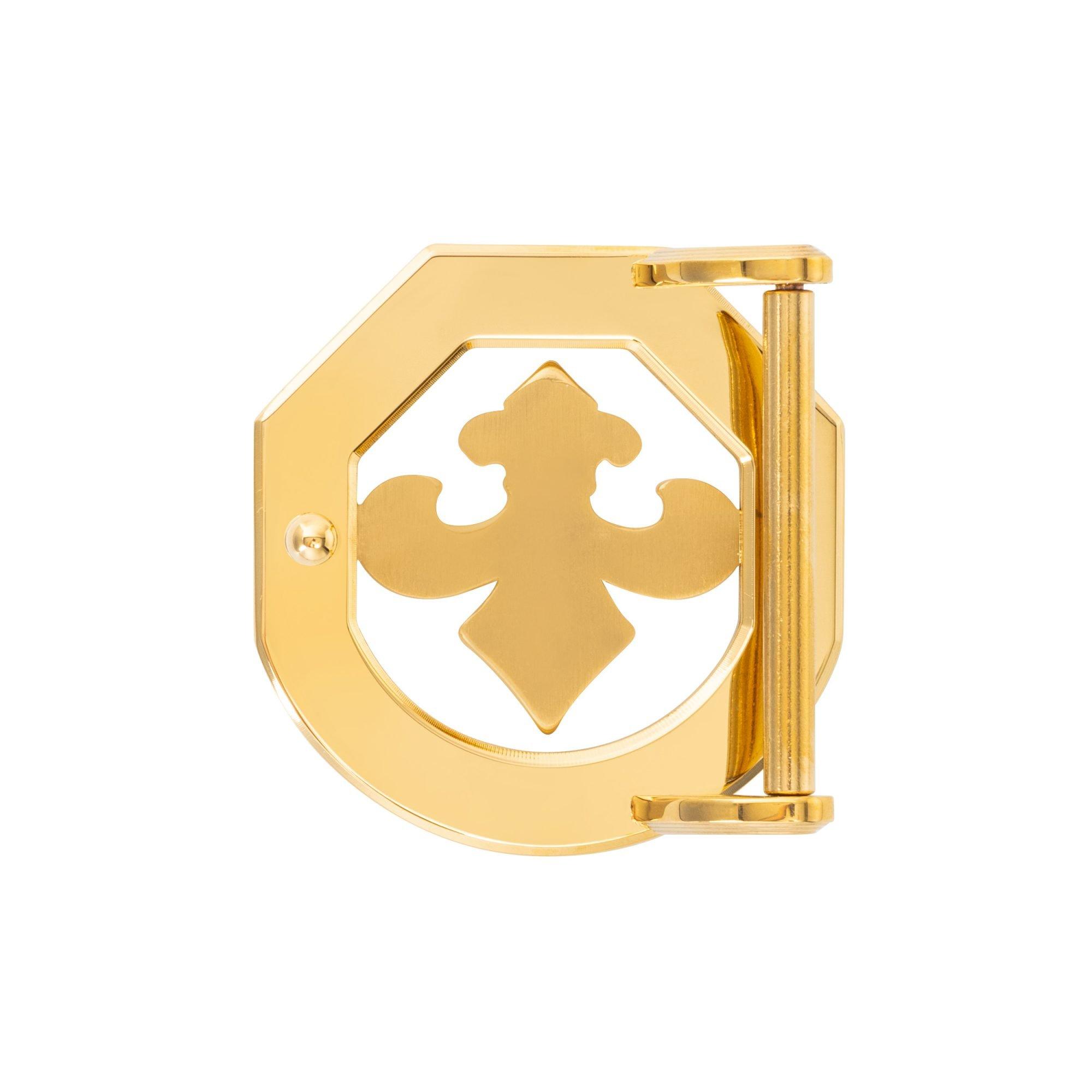 VIKTOR ALEXANDER 38MM STAINLESS STEEL BELT BUCKLE FLEUR DE LIS OFF-SHAPE YELLOW GOLD BACK PROFILE