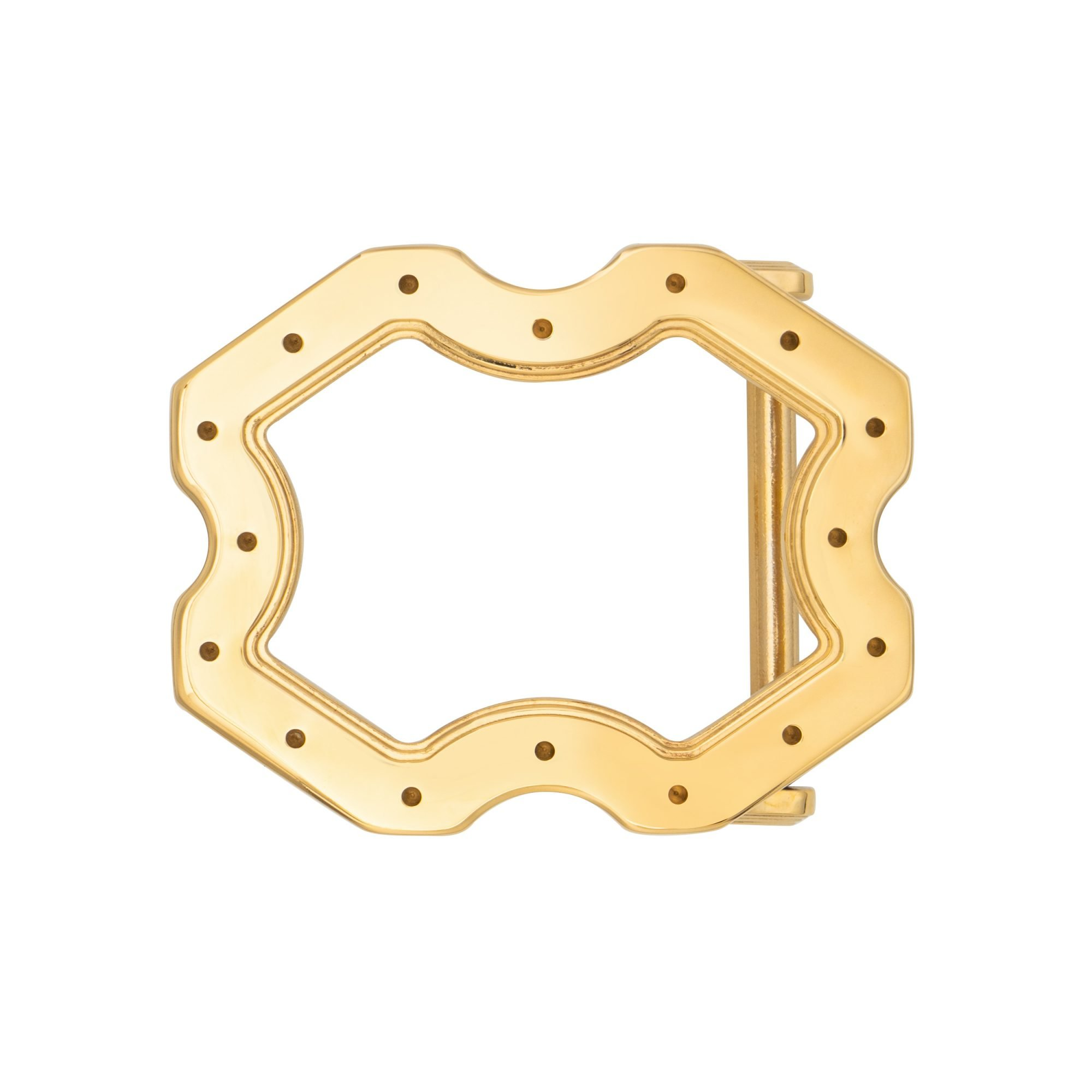 VIKTOR ALEXANDER 38MM STAINLESS STEEL BELT BUCKLE X FRAME INDENTED YELLOW GOLD FRONT PROFILE