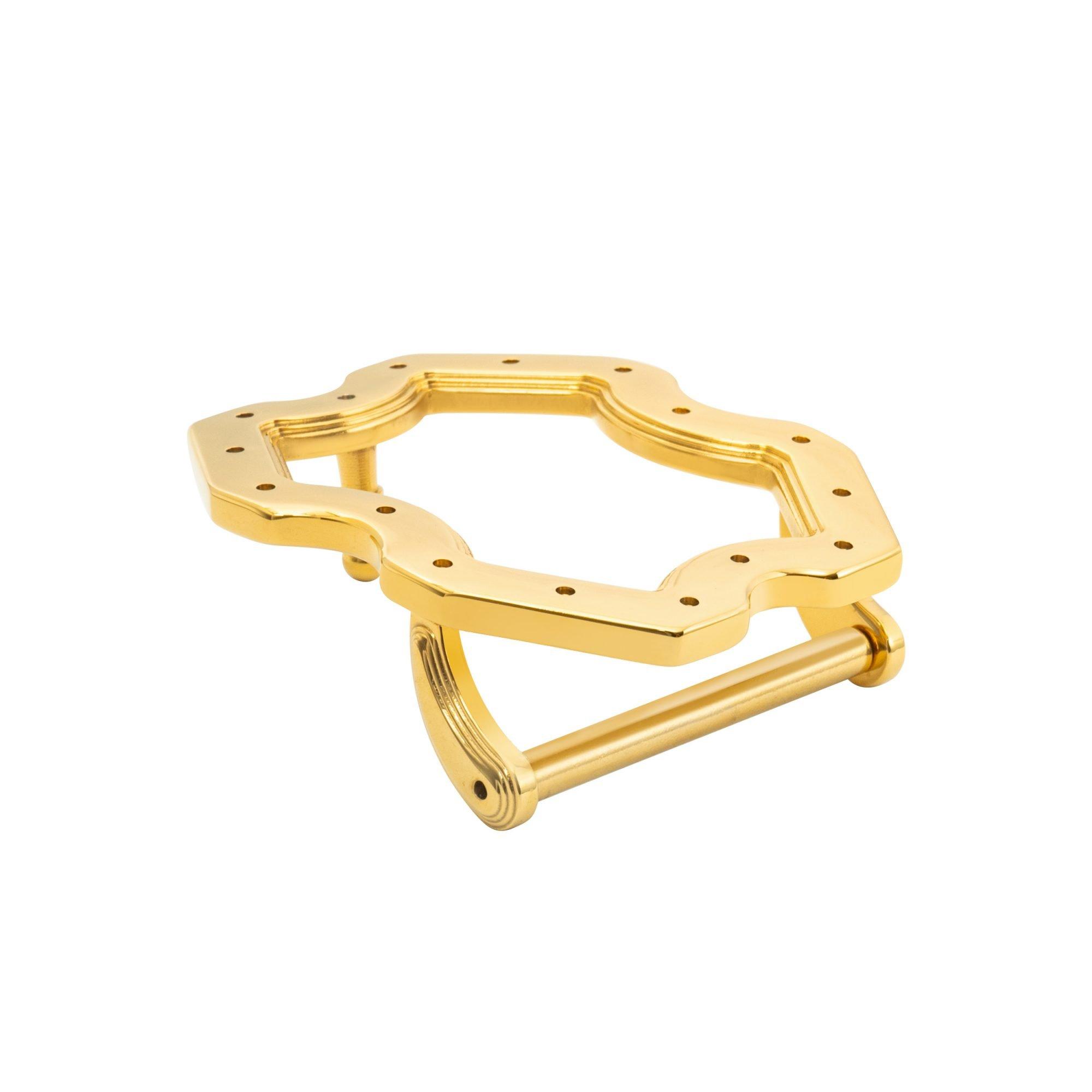 VIKTOR ALEXANDER 38MM STAINLESS STEEL BELT BUCKLE X FRAME INDENTED YELLOW GOLD SIDE PROFILE