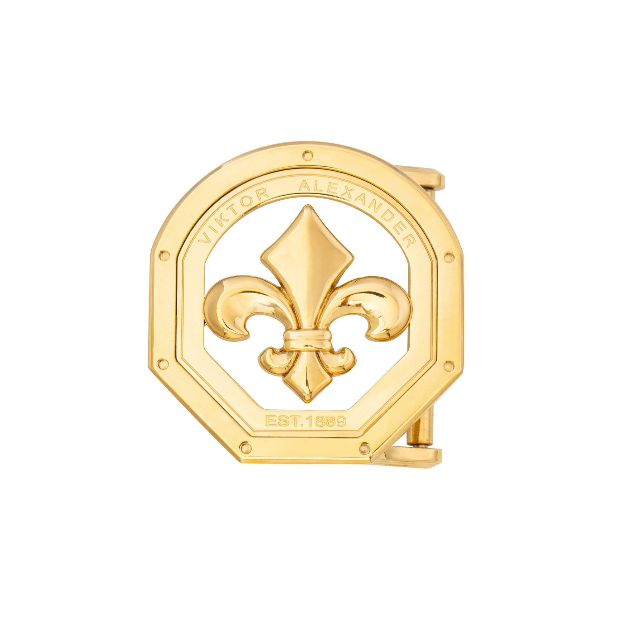 VIKTOR ALEXANDER 38MM STAINLESS STEEL BELT BUCKLE FLEUR DE LIS OFF-SHAPE YELLOW GOLD FRONT PROFILE