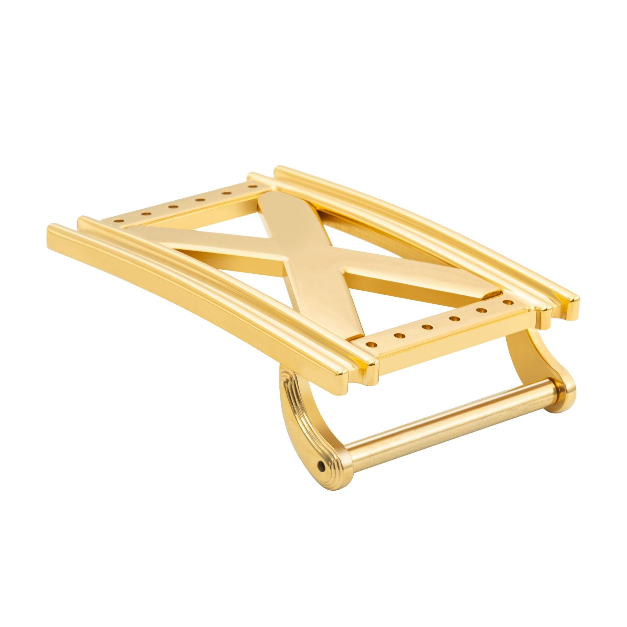 VIKTOR ALEXANDER 38MM STAINLESS STEEL BELT BUCKLE REPERTOIRE X YELLOW GOLD SIDE PROFILE