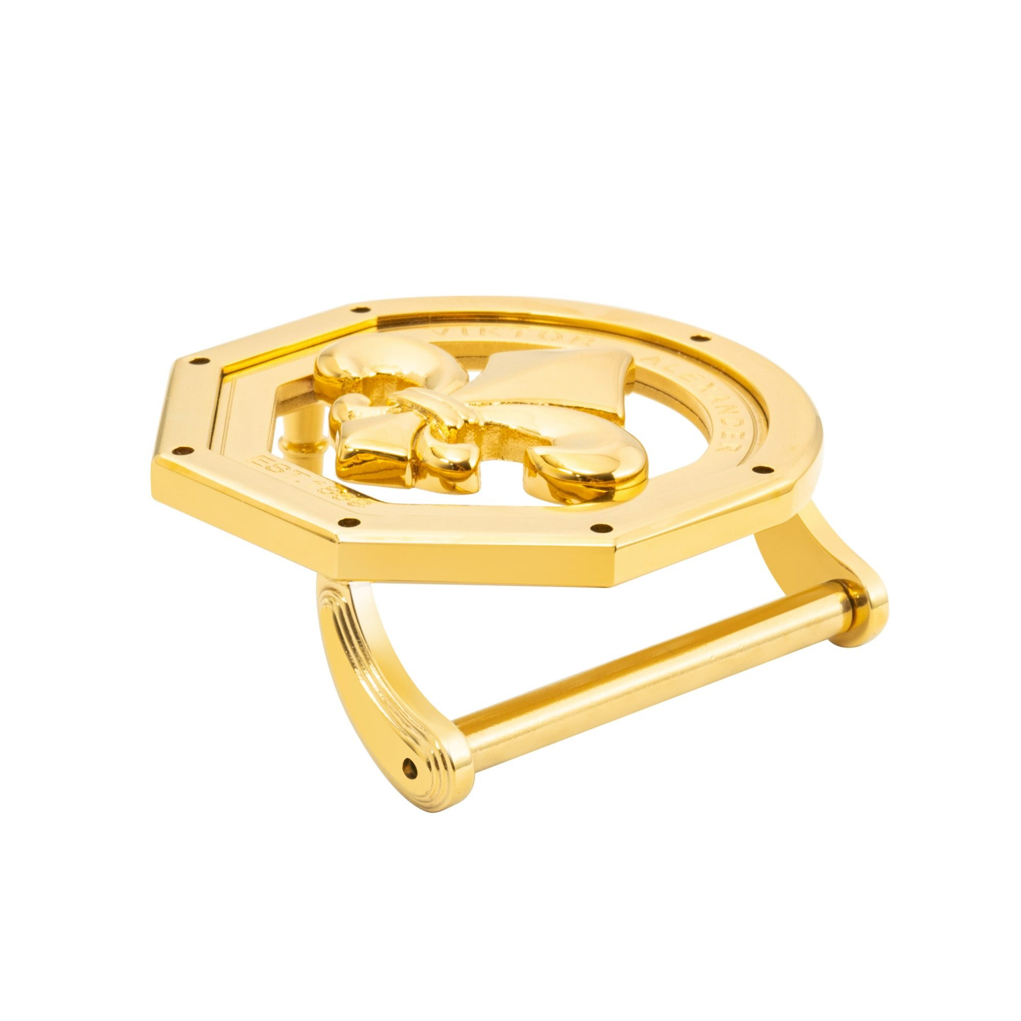VIKTOR ALEXANDER 38MM STAINLESS STEEL BELT BUCKLE FLEUR DE LIS OFF-SHAPE YELLOW GOLD SIDE PROFILE