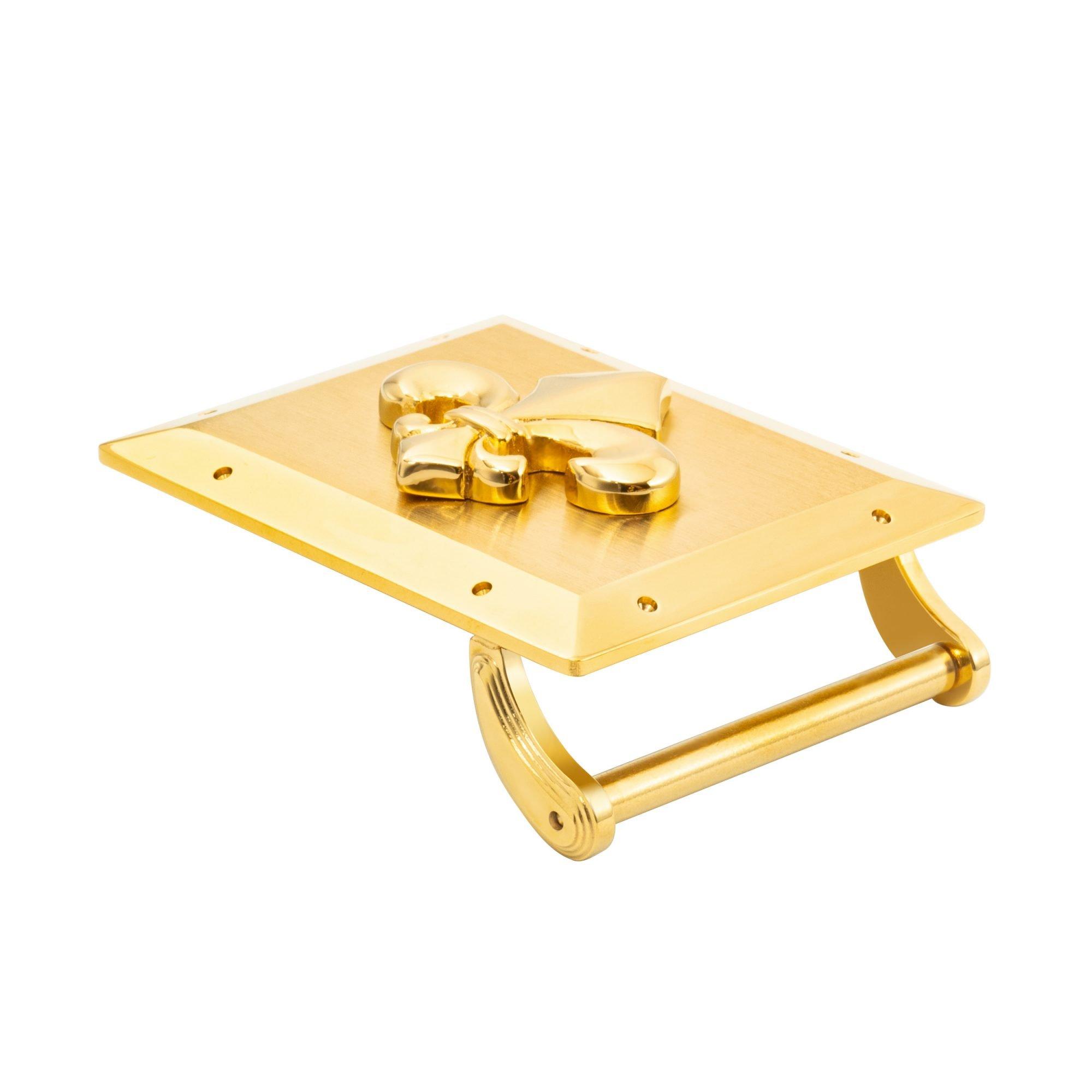 VIKTOR ALEXANDER 38MM STAINLESS STEEL BELT BUCKLE FLEUR DE LIS YELLOW GOLD SIDE PROFILE