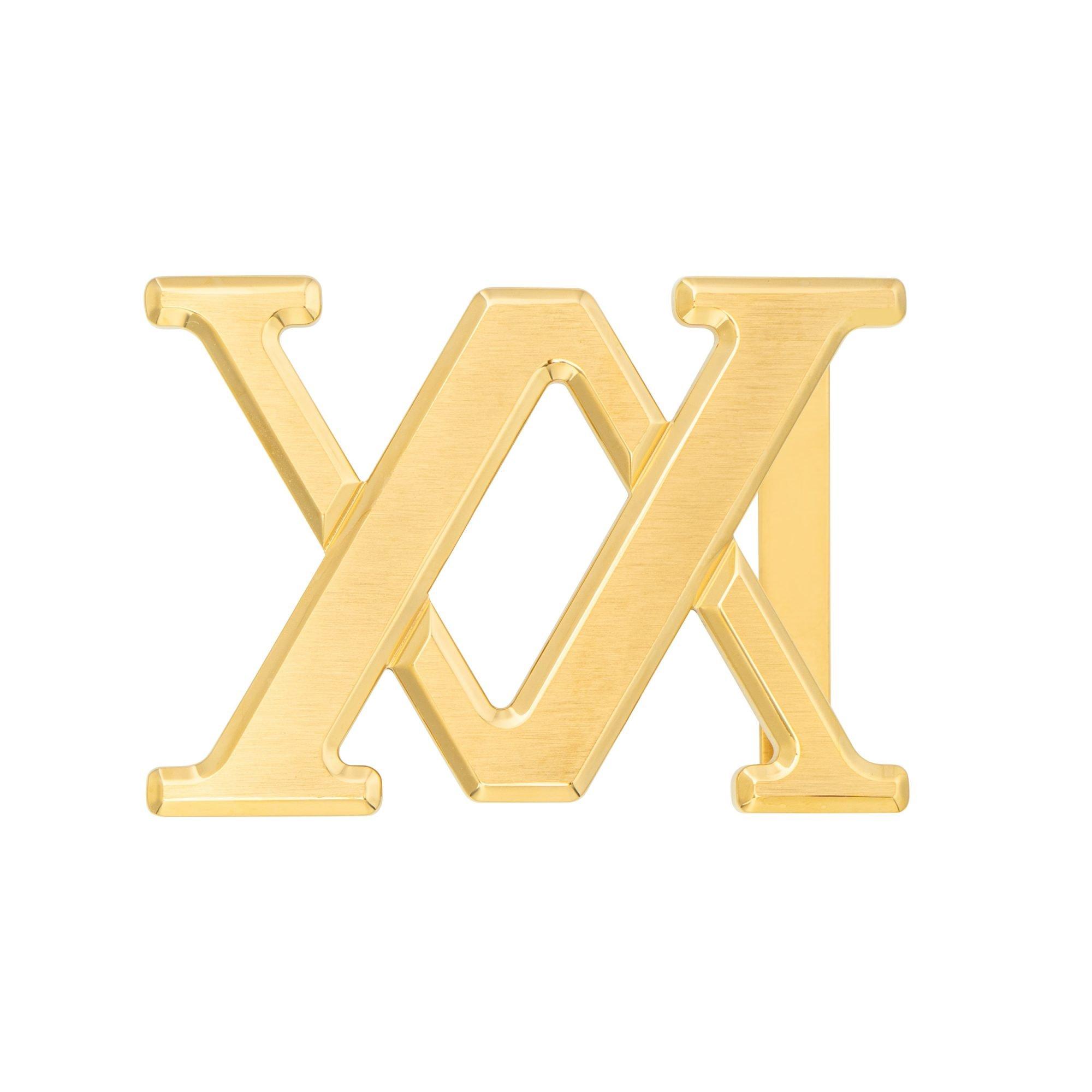 VIKTOR ALEXANDER 38MM STAINLESS STEEL BELT BUCKLE VA LOGO YELLOW GOLD FRONT PROFILE