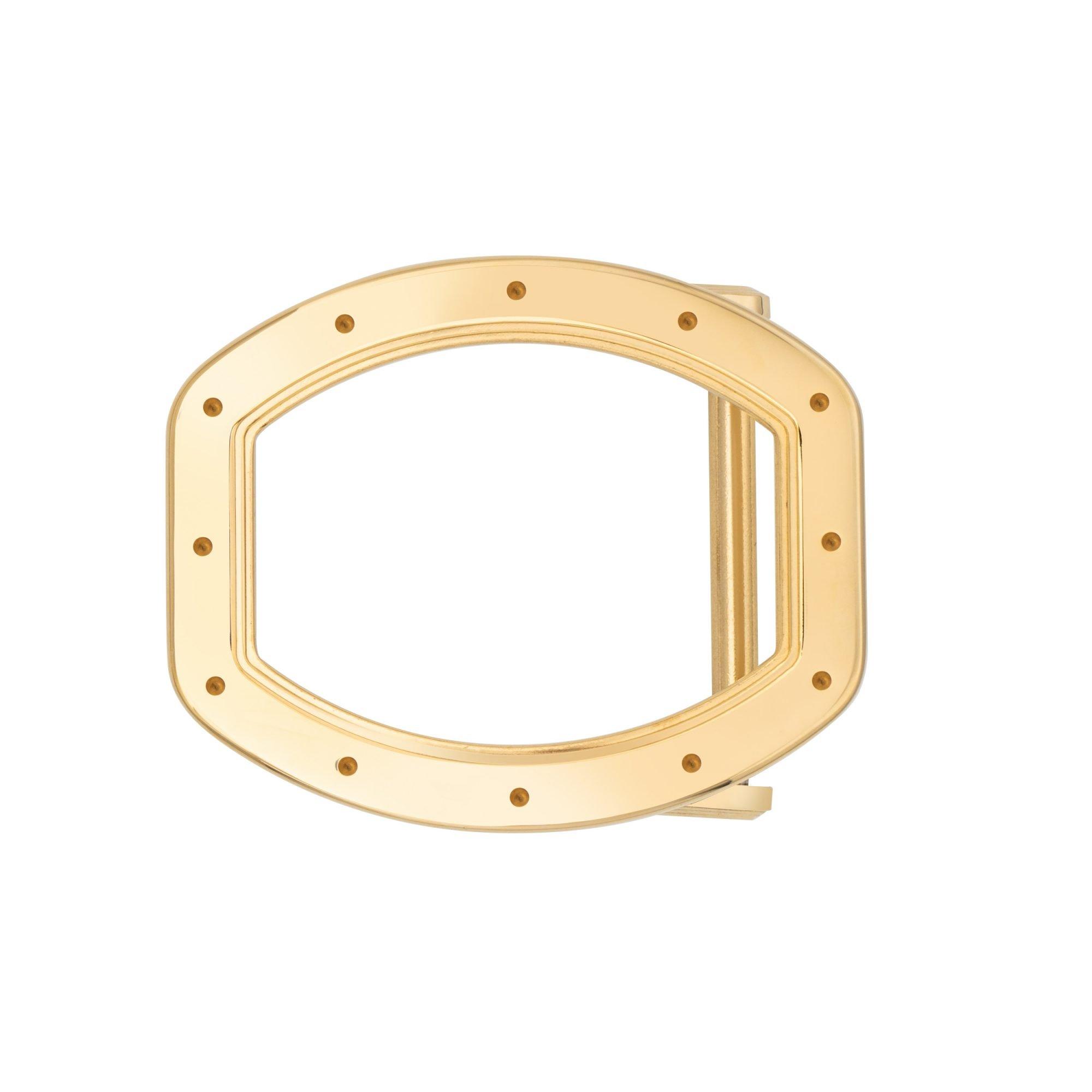 VIKTOR ALEXANDER 38MM STAINLESS STEEL BELT BUCKLE TONNEAU SHAPE YELLOW GOLD FRONT PROFILE