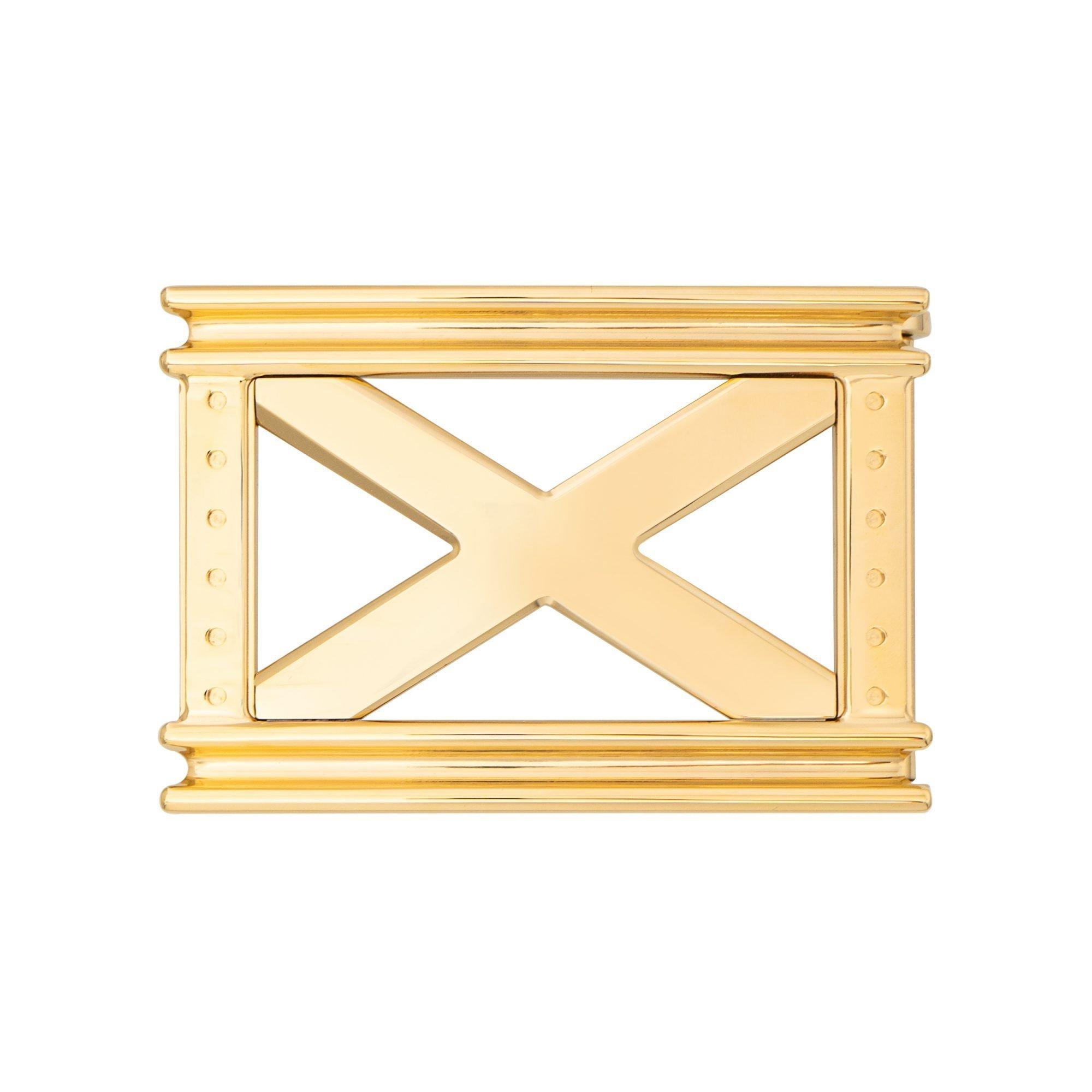 VIKTOR ALEXANDER 38MM STAINLESS STEEL BELT BUCKLE REPERTOIRE X YELLOW GOLD FRONT PROFILE