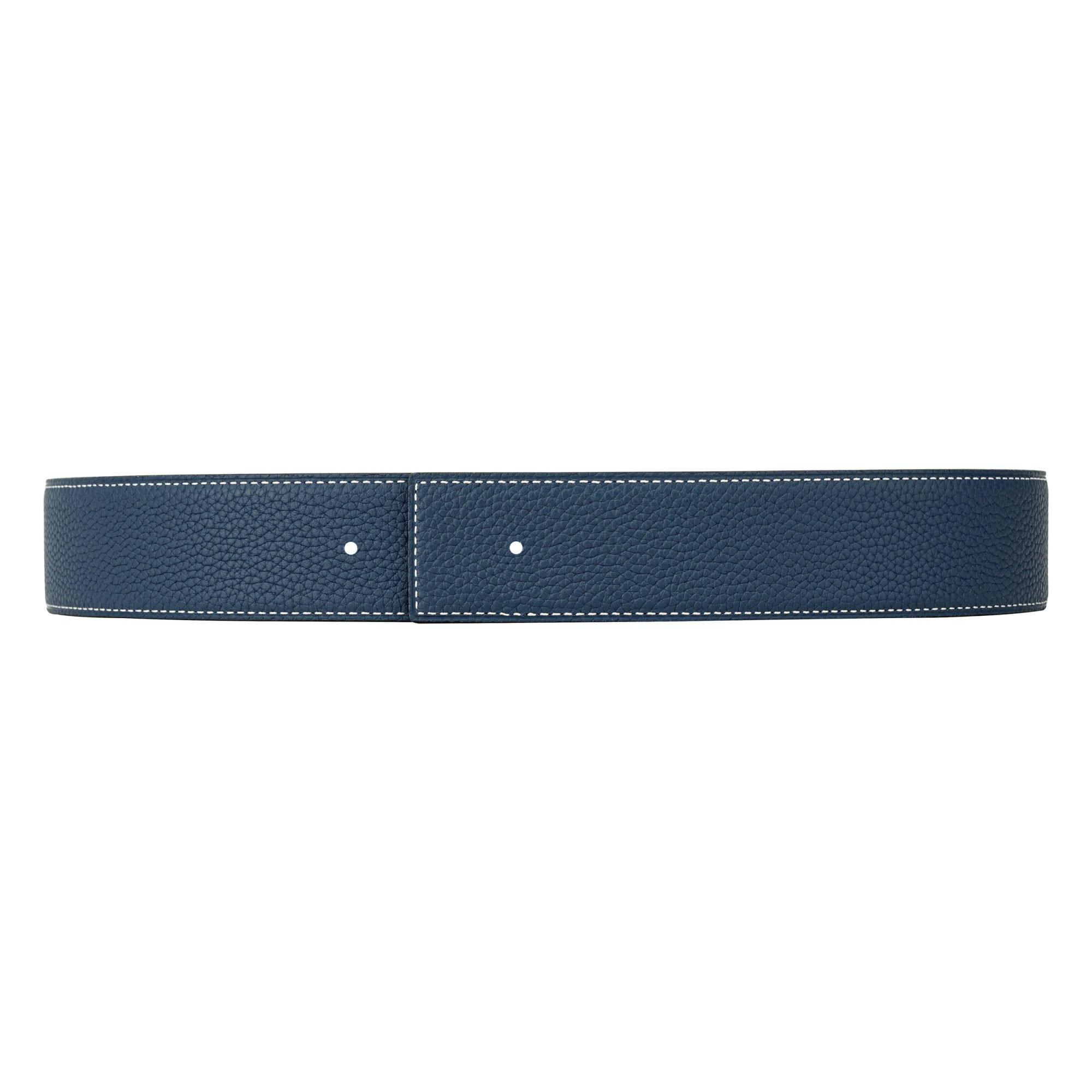 VIKTOR ALEXANDER 38MM TOGO CALF LEATHER NAVY BLUE FRONT PROFILE