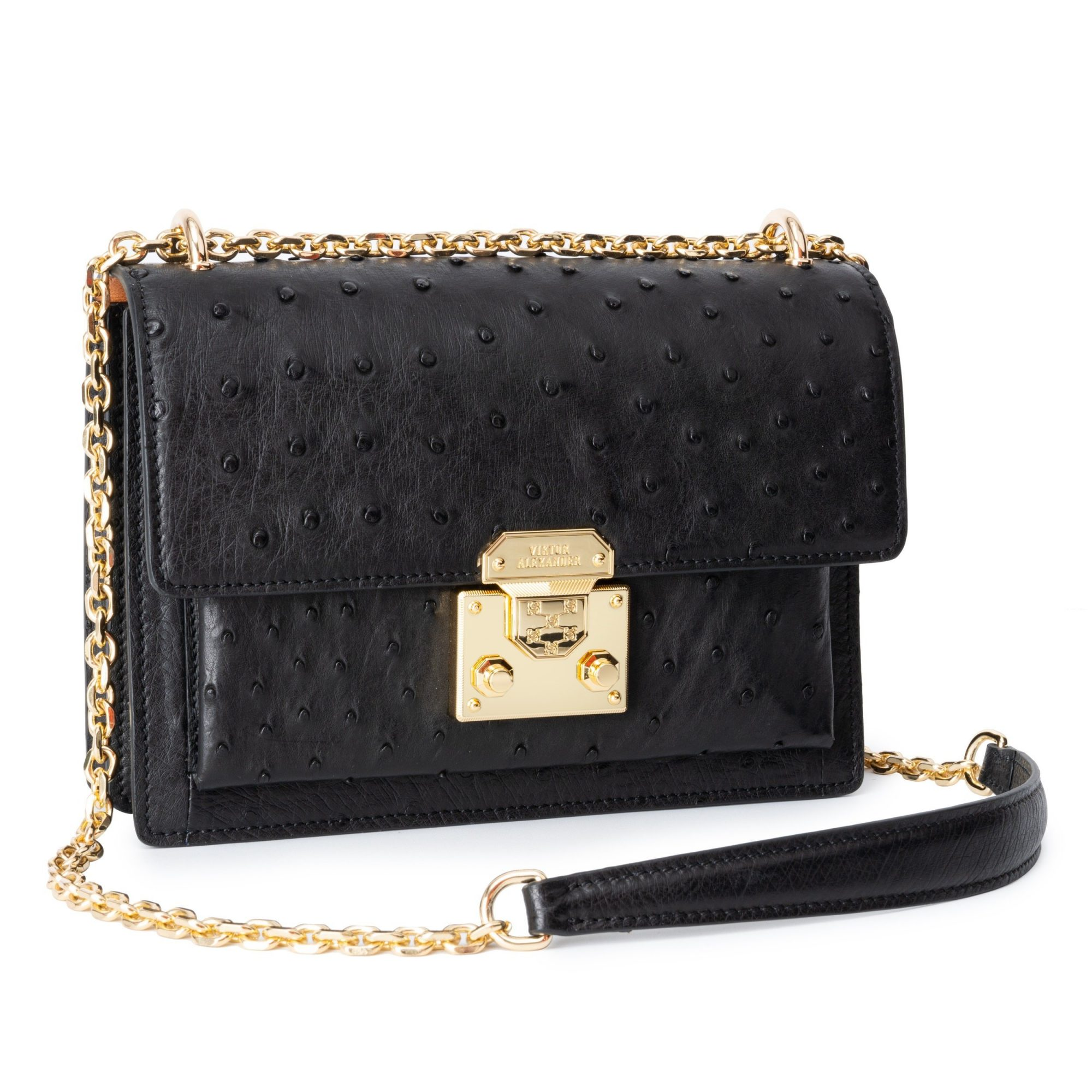 BECCA 23 OSTRICH LEATHER BAG FRONT PROFILE