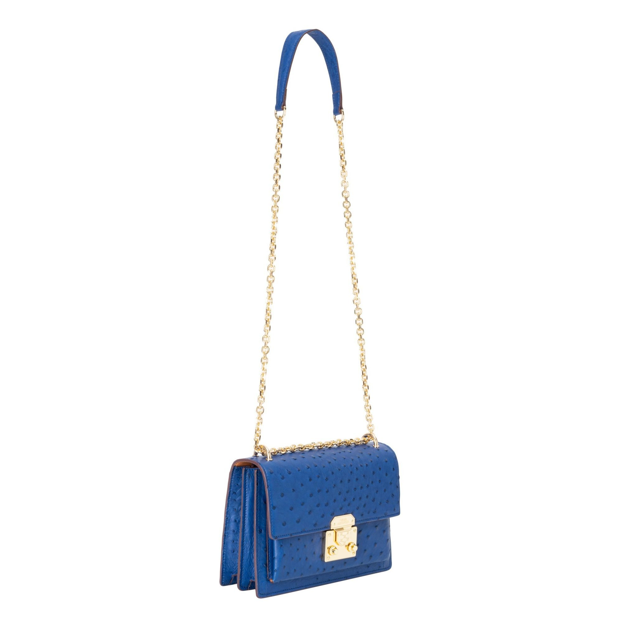 BECCA 23 OSTRICH LEATHER BAG SIDE PROFILE