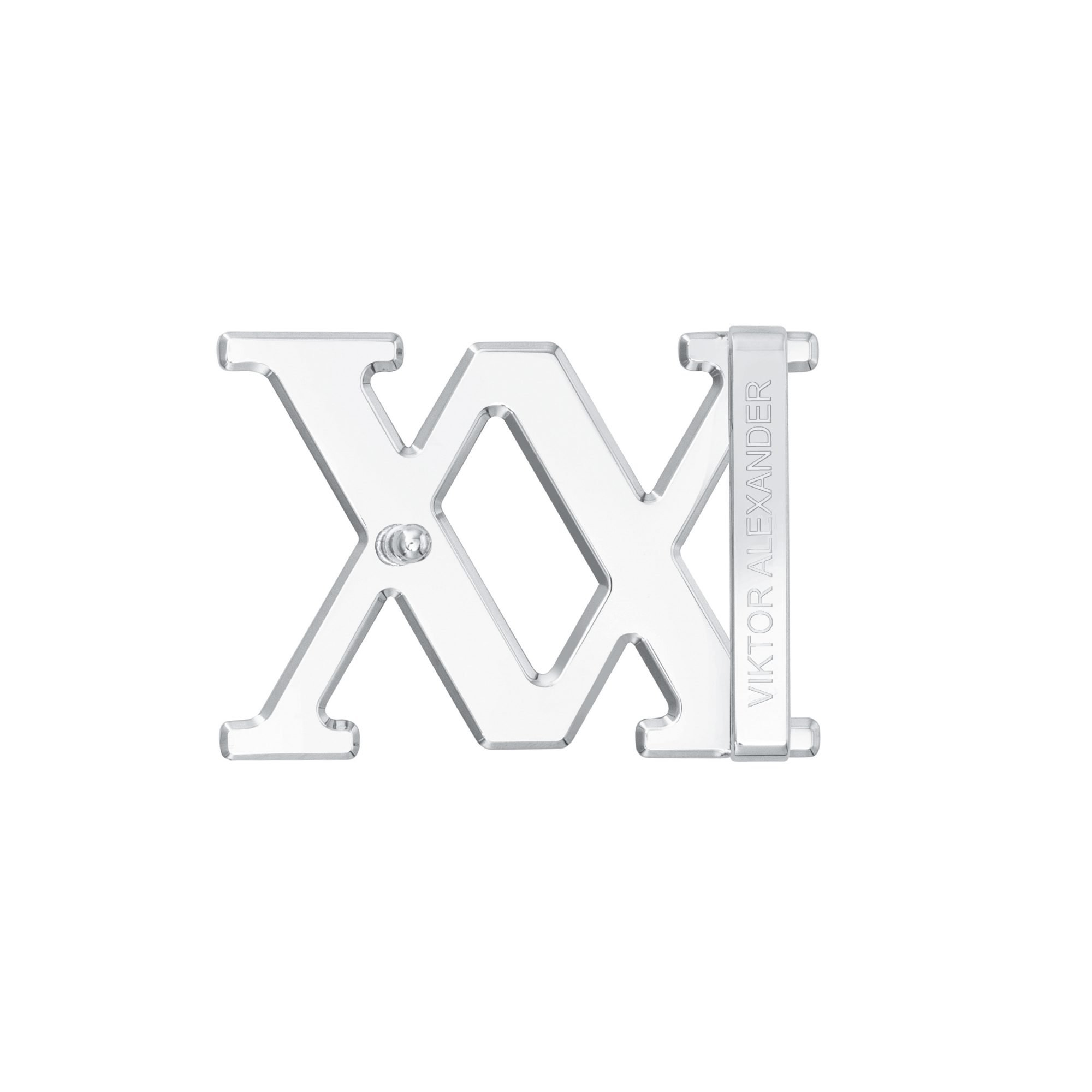 VIKTOR ALEXANDER 38MM STAINLESS STEEL BELT BUCKLE VA LOGO SIDE PROFILE