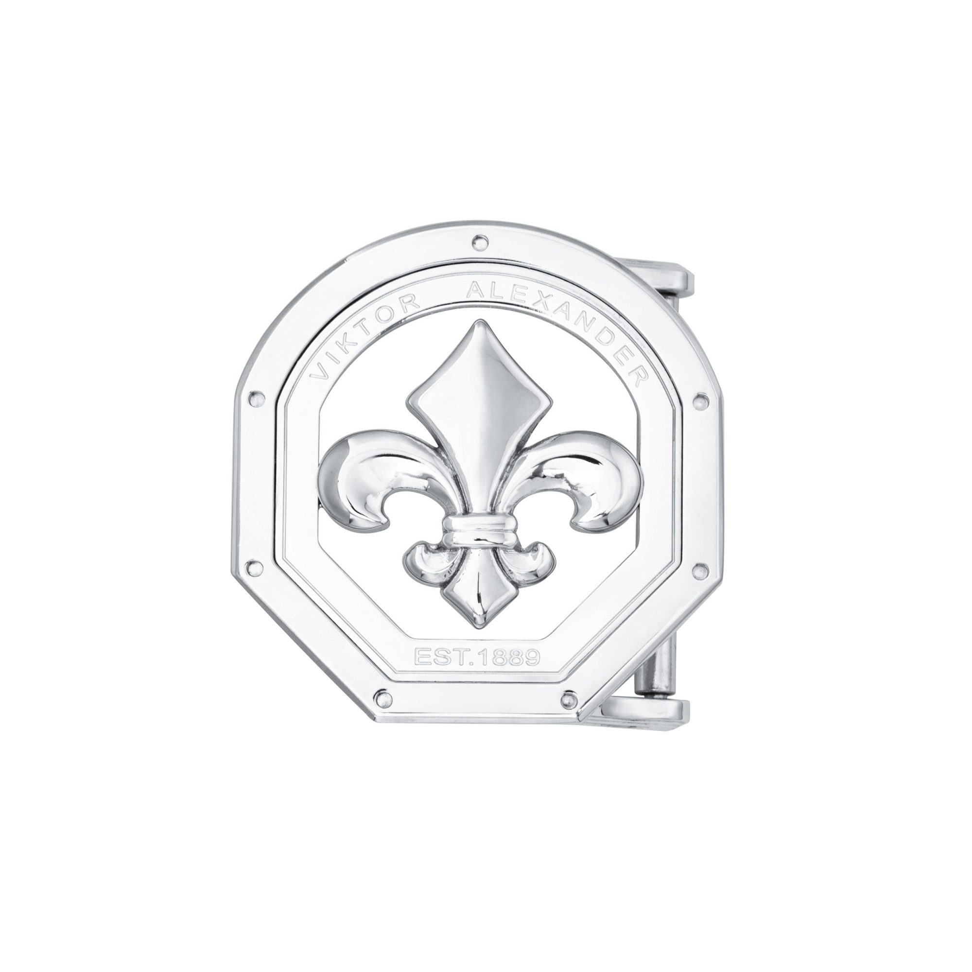 VIKTOR ALEXANDER 38MM STAINLESS STEEL BELT BUCKLE FLEUR DE LIS OFF-SHAPE FRONT PROFILE