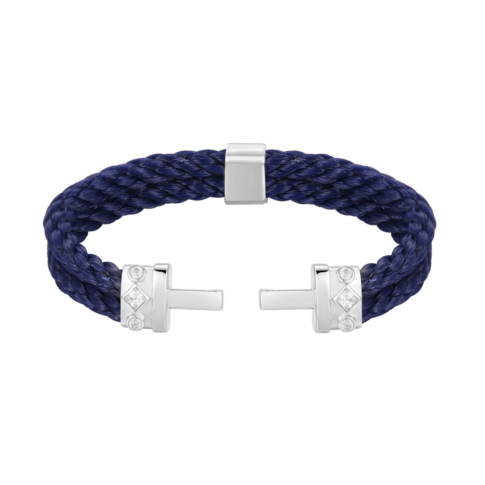 VIKTOR ALEXANDER 925 SILVER B2 DOUBLE LOCK BRACELET NATURAL WHITE SAPPHIRE SILICON NYLON ROPE NAVY BLUE MAIN PROFILE