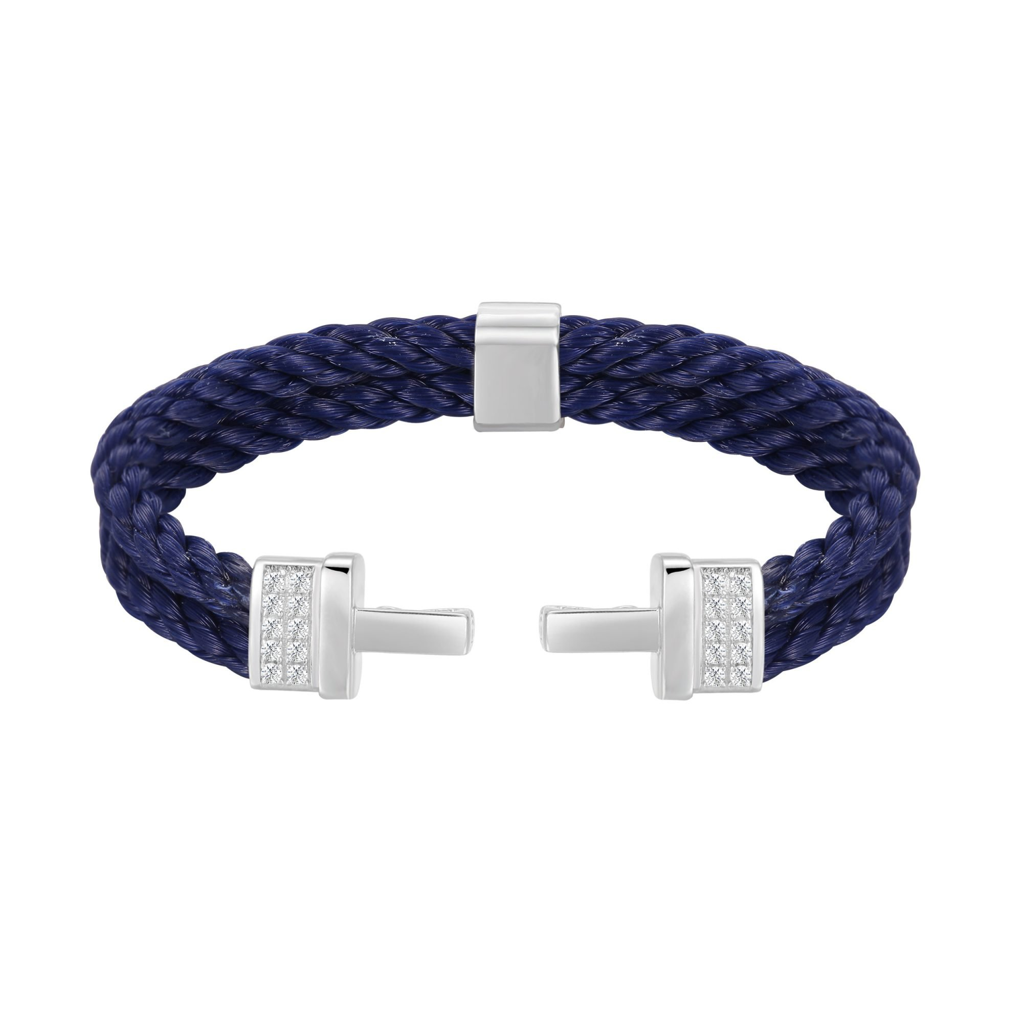 VIKTOR ALEXANDER 925 SILVER P2 DOUBLE LOCK BRACELET NATURAL WHITE SAPPHIRE SILICON NYLON ROPE NAVY BLUE MAIN PROFILE