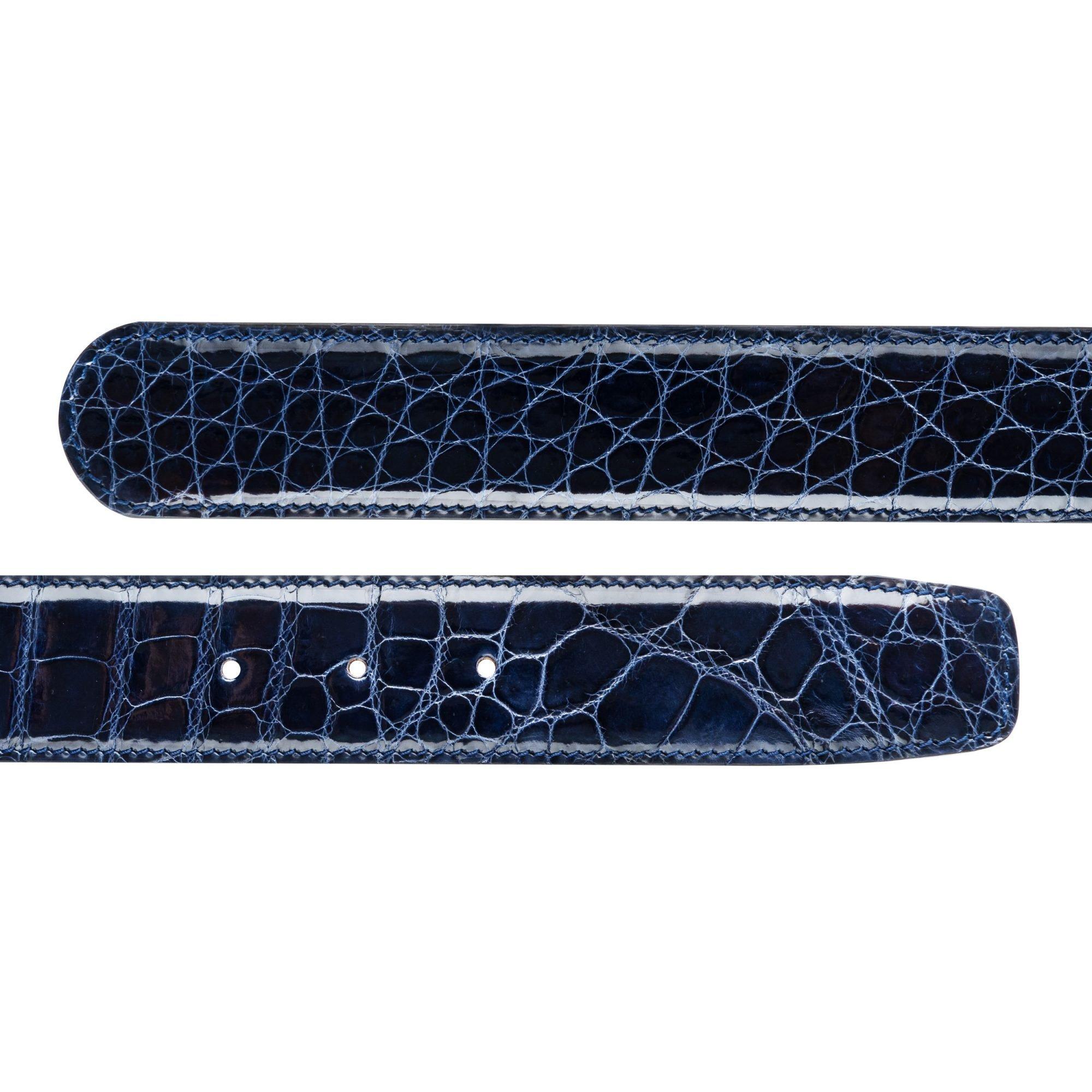38MM VIKTOR ALEXANDER CROCODILE ALLIGATOR HIGH SHINE GLOSSY NAVY BLUE COLOUR BELT DUAL PROFILE