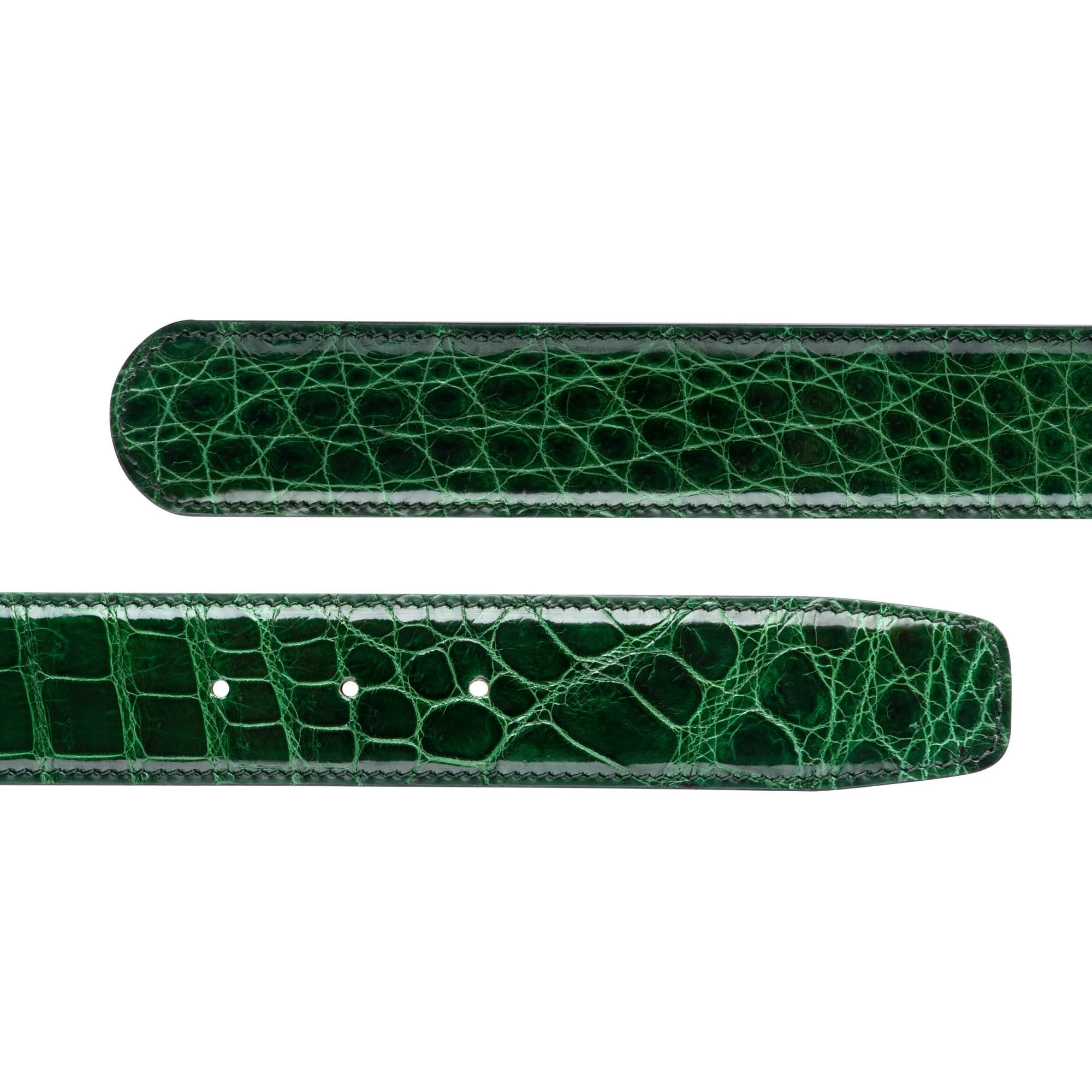 38MM VIKTOR ALEXANDER CROCODILE ALLIGATOR HIGH SHINE GLOSSY EMERALD DARK GREEN COLOUR BELT DUAL PROFILE
