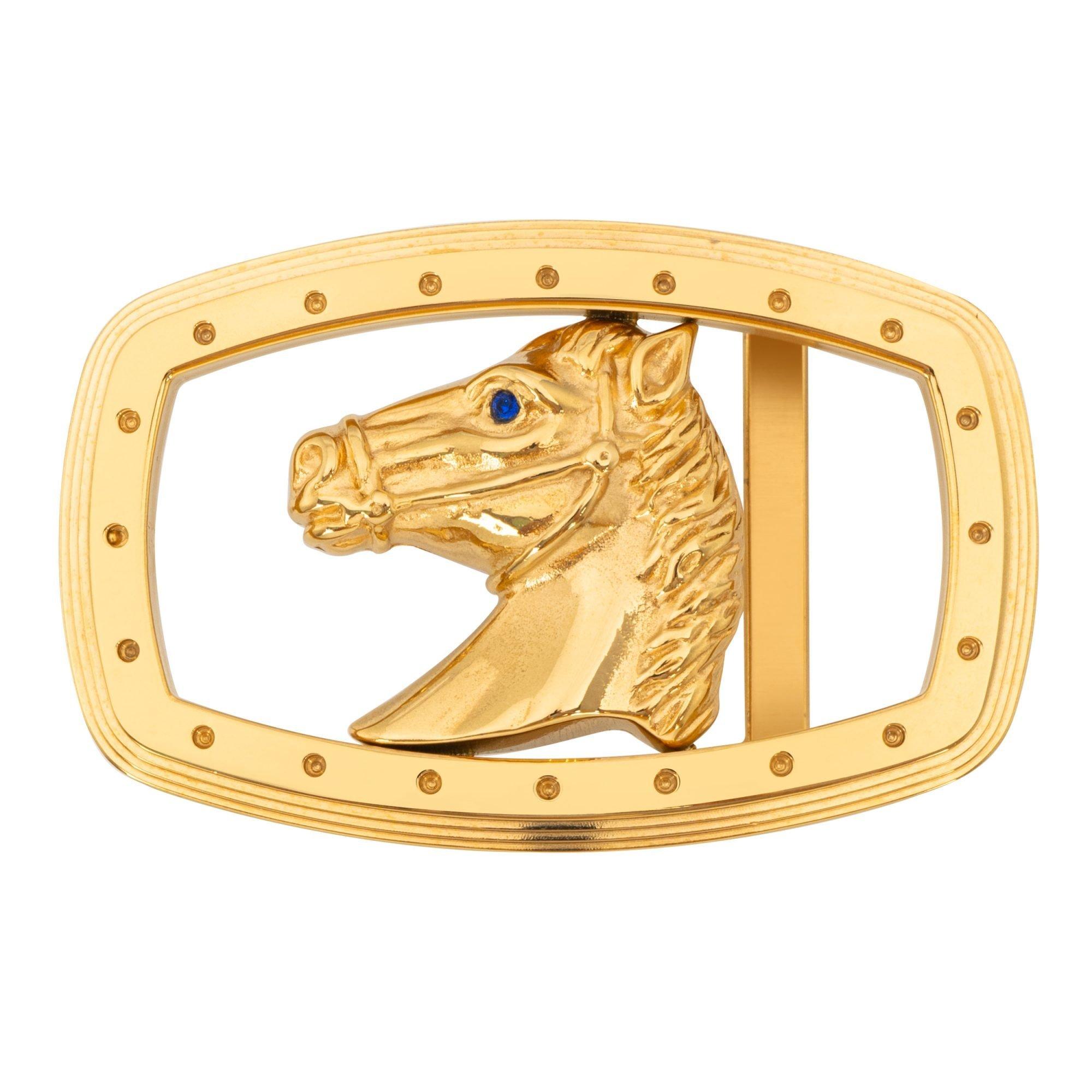 VIKTOR ALEXANDER 38MM STAINLESS STEEL HORSE BLUE SPINEL GEMSTONE BUCKLE