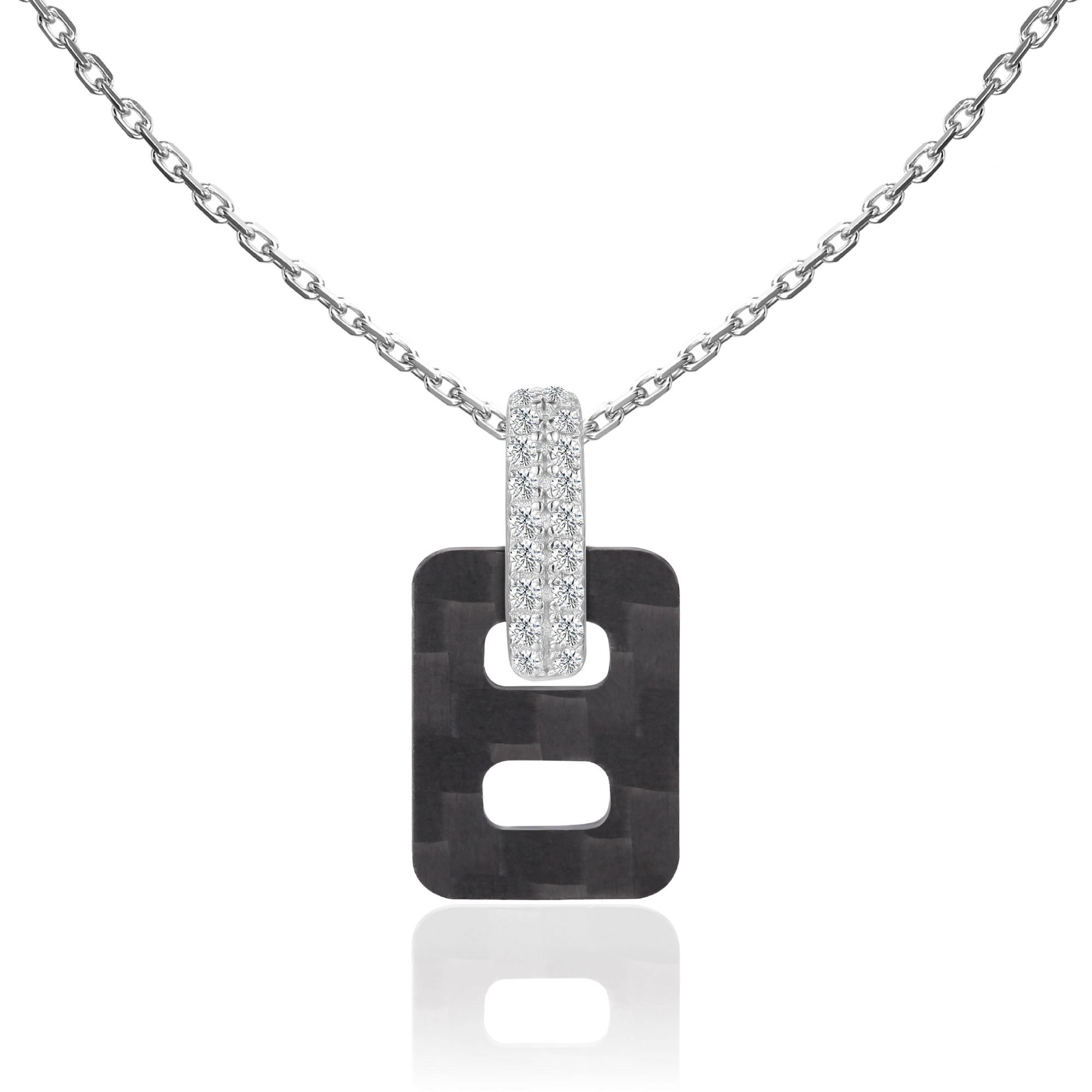 """VIKTOR ALEXANDER 925 SILVER PENDANT JEWELLERY WHITE SAPPHIRE GEMSTONE WITH 18"""" 925 SILVER CHAIN CONNECTOR CARBON FIBER CHARM"""