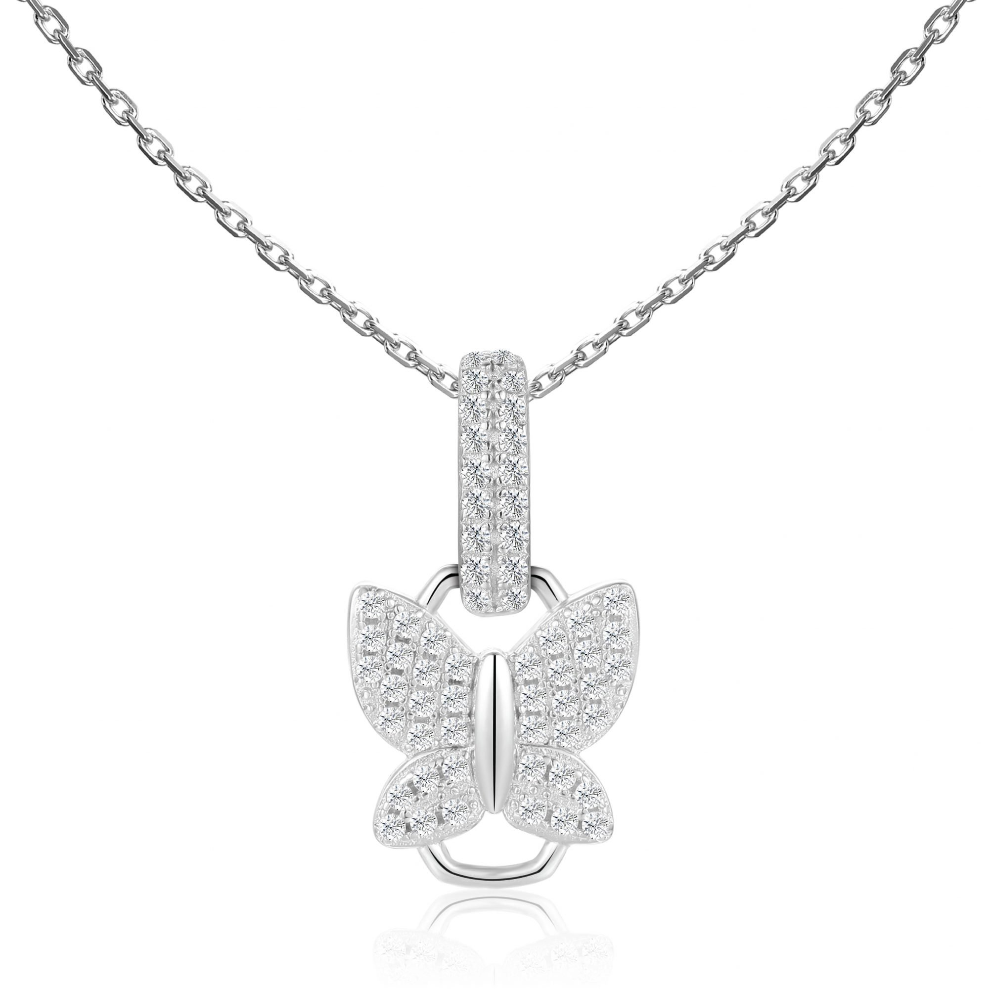 """VIKTOR ALEXANDER 925 SILVER PENDANT JEWELLERY WHITE SAPPHIRE GEMSTONE WITH 18"""" 925 SILVER CHAIN CONNECTOR BUTTERFLY CHARM"""