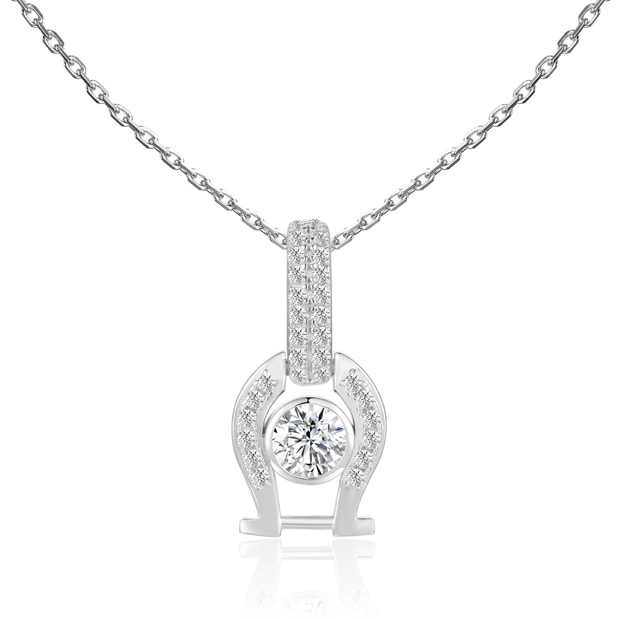 """VIKTOR ALEXANDER 925 SILVER PENDANT JEWELLERY WHITE SAPPHIRE GEMSTONE WITH 18"""" 925 SILVER CHAIN CONNECTOR HORSESHOE CHARM"""