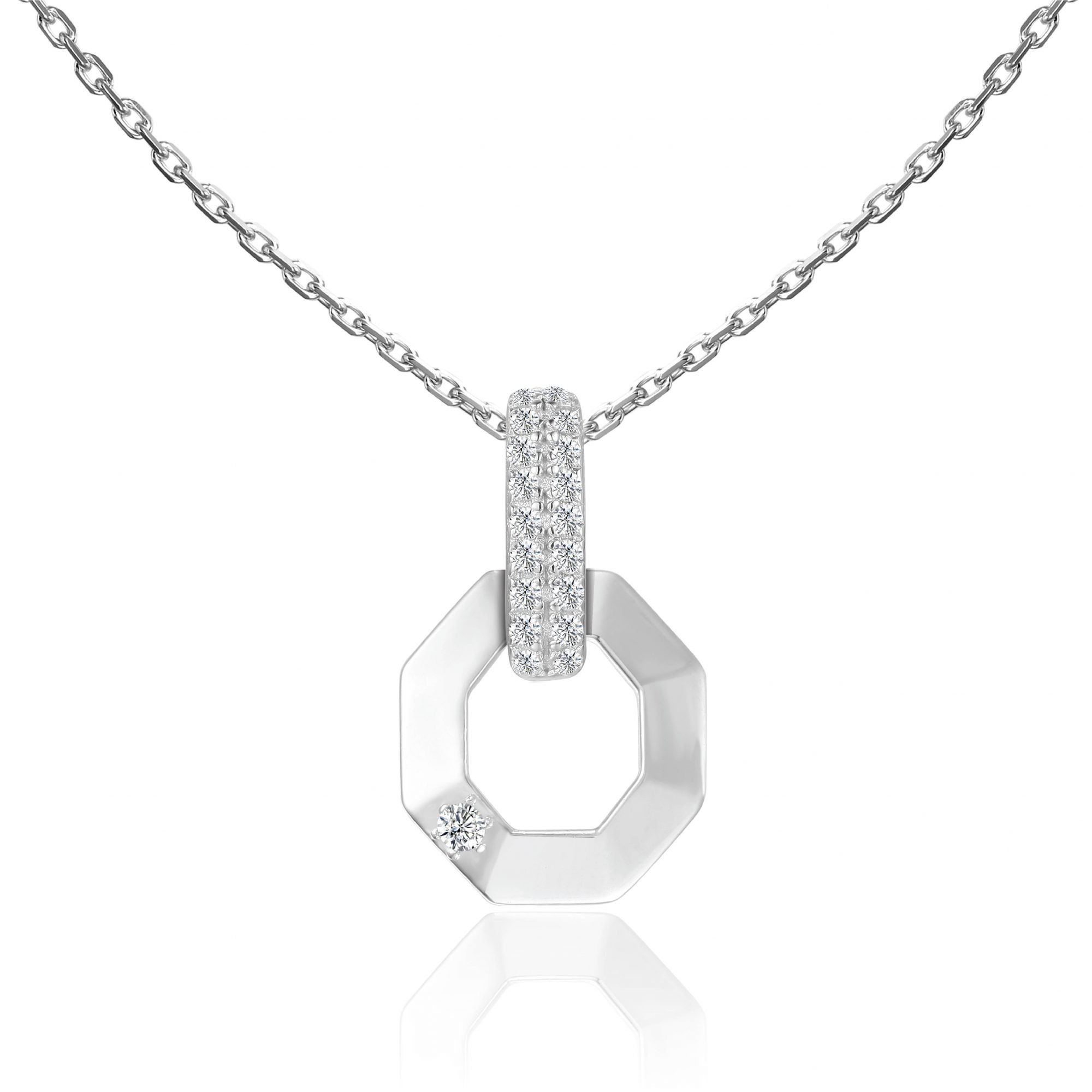 """VIKTOR ALEXANDER 925 SILVER PENDANT JEWELLERY WHITE SAPPHIRE GEMSTONE WITH 18"""" 925 SILVER CHAIN CONNECTOR OCTAGON MOTIF"""