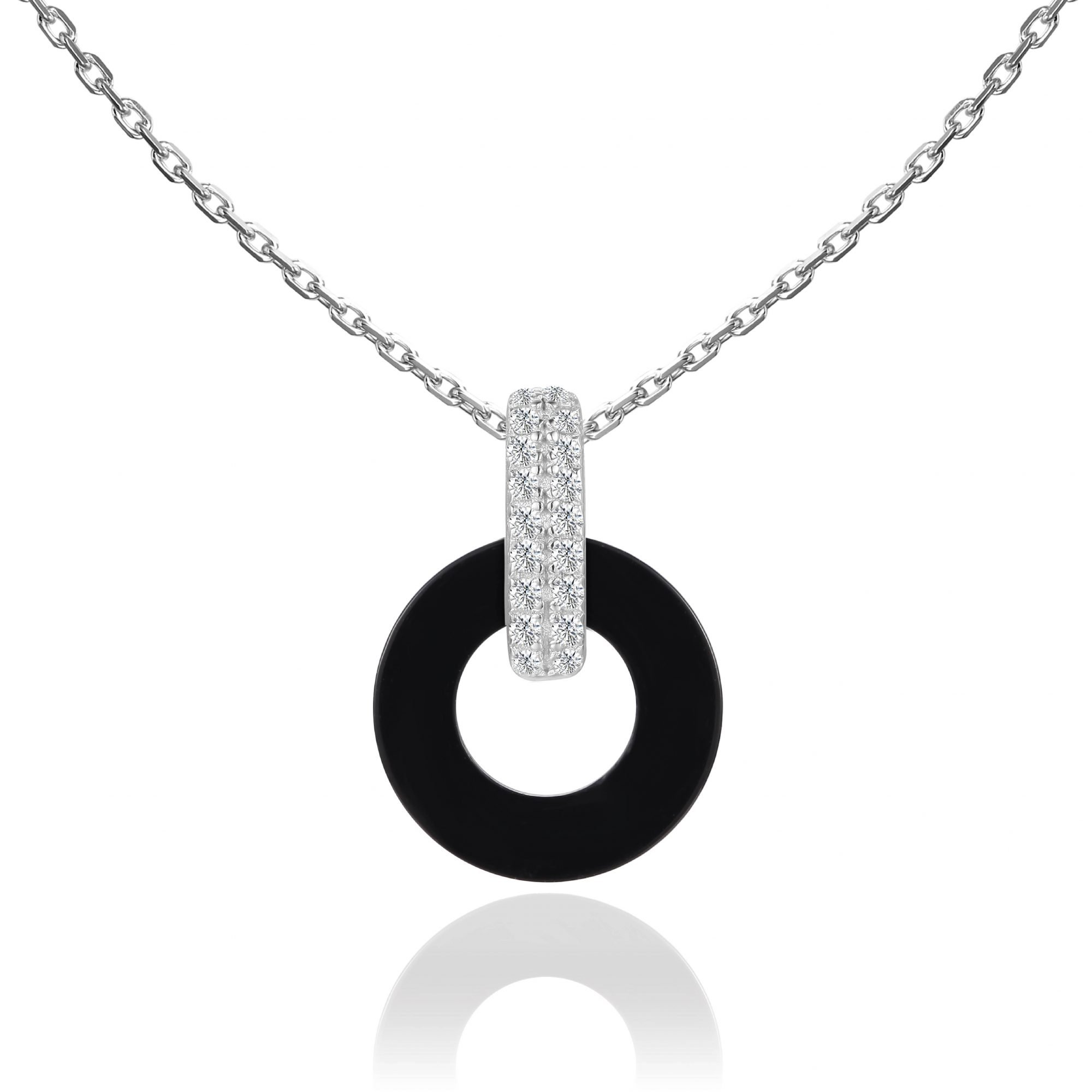 """VIKTOR ALEXANDER 925 SILVER PENDANT JEWELLERY WHITE SAPPHIRE GEMSTONE WITH 18"""" 925 SILVER CHAIN CONNECTOR BLACK AGATE CHARM"""